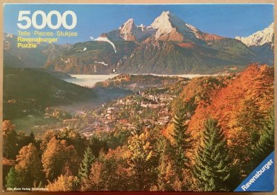 Image of the puzzle 5000, Ravensburger, Autumn in the Alps, Sealed Bag, Picture of the box