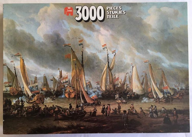 image of the puzzle 3000, Jumbo, Sham Fight on the River Y, by Abraham Storck, Complete, Picture of the box