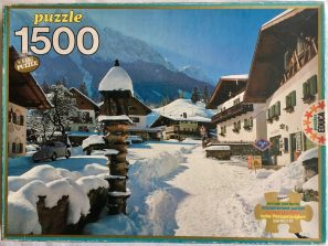Image of the Puzzle 1500, Educa, Snow in Grainau, Sealed Bag, Pictuer of the Box