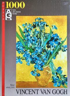Image of the Puzzle 1000, Ricordi, Vase with Irises Against a Yellow Background, Factory Sealed