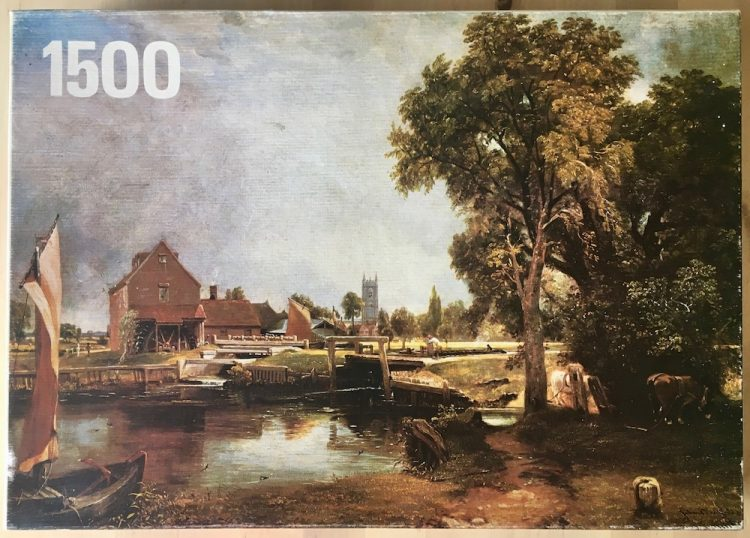 Image of the puzzle 1500, Hestair, Dedham Mill, by John Constable, Complete, Picture of the box