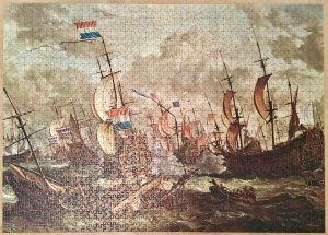 Image of the puzzle 1500, Ravensburger, Four Days Battle, by Abraham Storck, Picture of the puzzle assembled