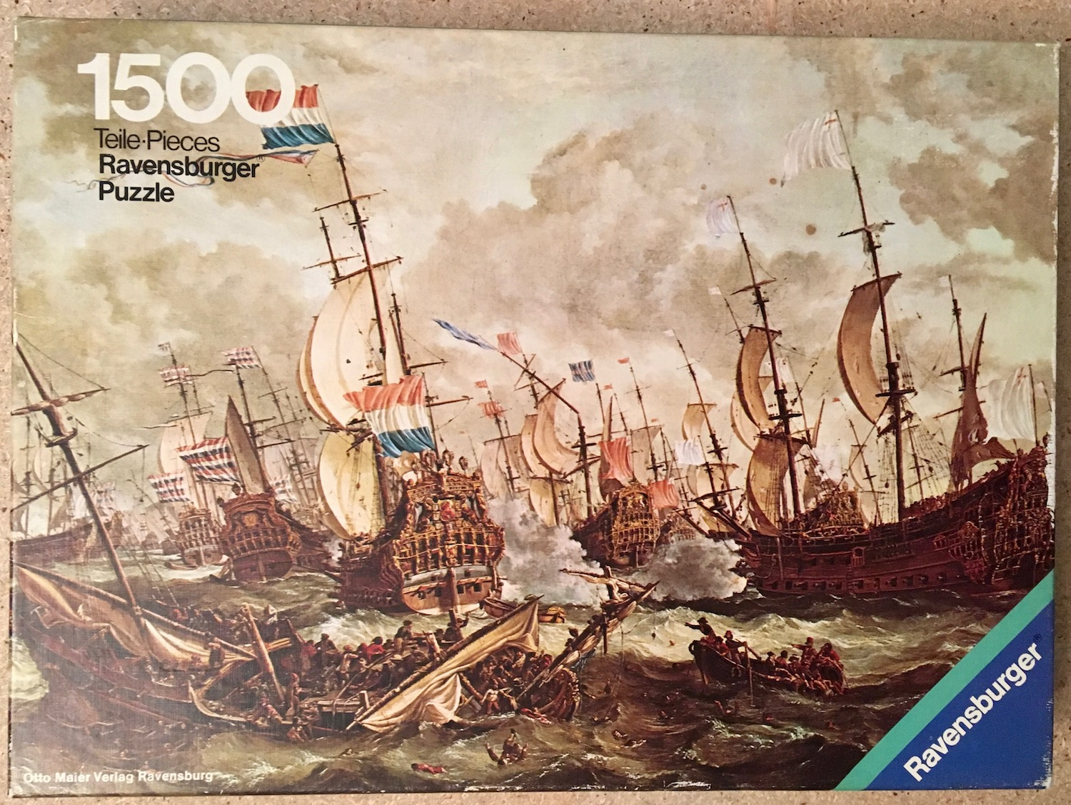 Image of the puzzle 1500, Ravensburger, Four Days Battle, by Abraham Storck, Picture of the box