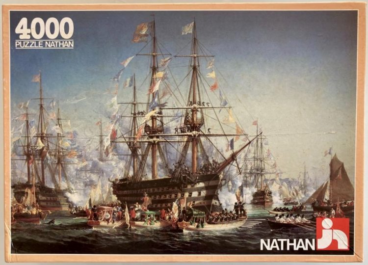 Image of the puzzle 4000, Nathan, Queen Victorias Visit to Cherbourg, by Jules Achille Noël, Sealed Bag, Picture of the box