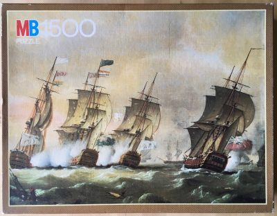 Image of the puzzle 1500, MB, Naval Battle, by Thomas Luny, Complete, Picture of the box