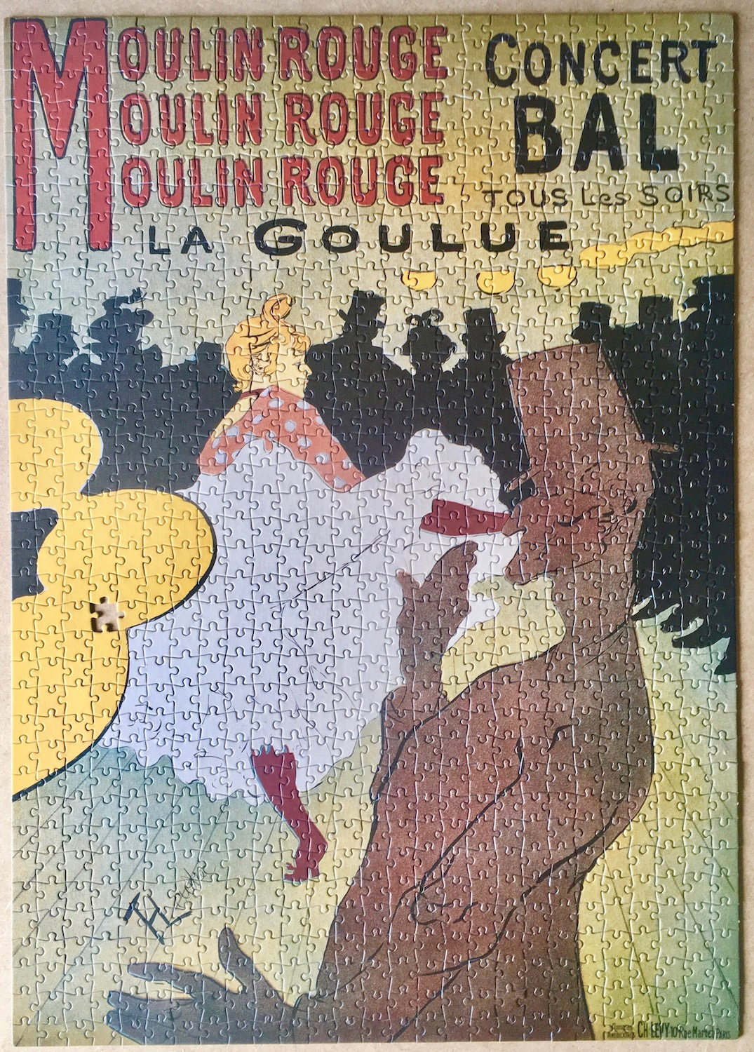 Image of the puzzle 1000, Clementoni, Moulin Rouge, by Toulouse-Lautrec, Puzzle Assembled