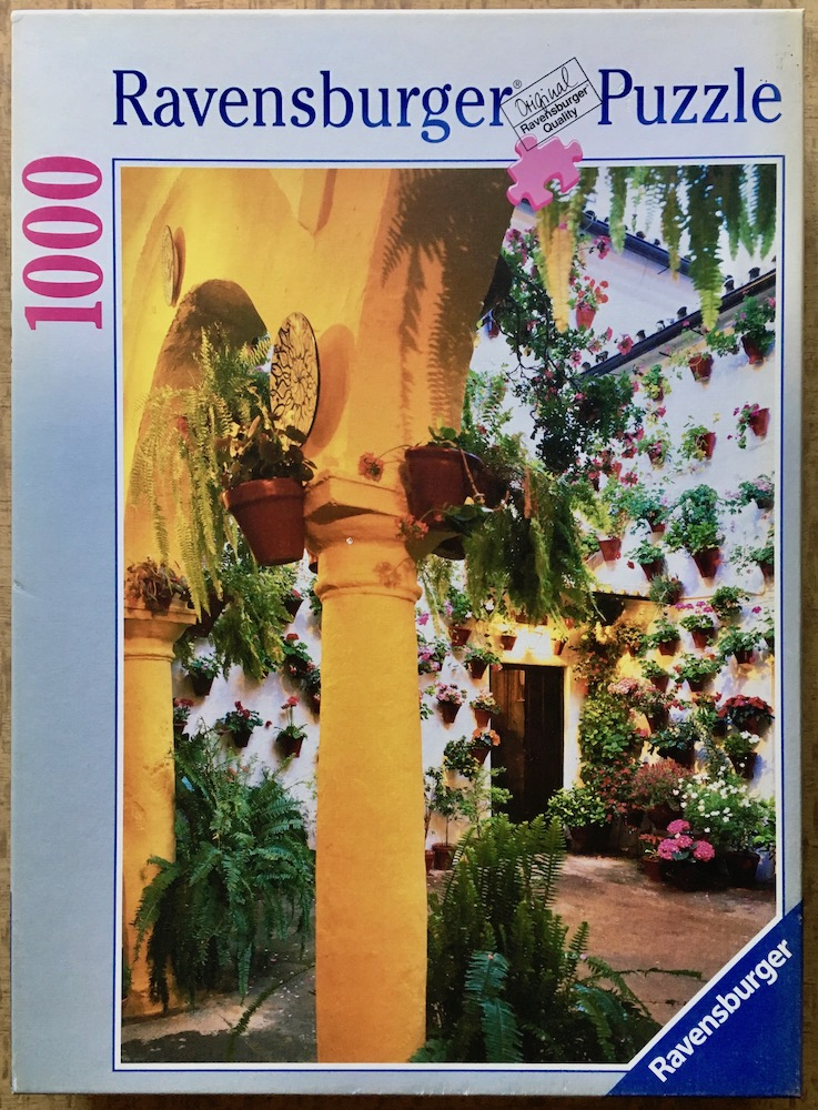 Image of the puzzle 1000, Ravesnburger, A Courtyard in Andalusia, Complete, Picture of the box