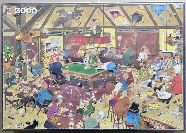 Image of the puzzle 3000, Jumbo, Shooting Pool, by Jan van Haasteren, Factory Sealed, Picture fo the box