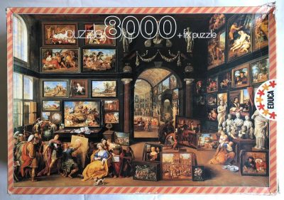Image of the puzzle 8000, Educa, Alexander the Great Visiting the Studio of Apeles, by Willem van Haecht, Picture of the box