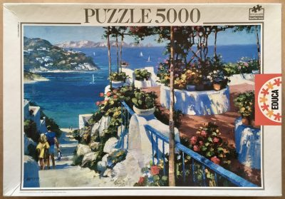 Image of the puzzle 5000, Educa, Balcony in Ponza, by Howard Behrens, Sealed Bag, Picture of the box