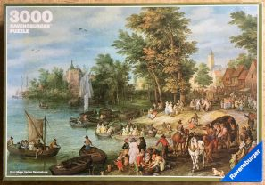 Image of the puzzle 3000, Ravensburger, Landing Place, Jan Brueghel the Elder, Complete, Picture of the box