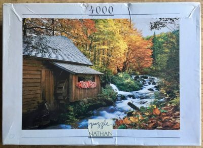 Image of the puzzle 4000, Nathan, Flowers by the Mill, Sealed Bag, Picture of the box