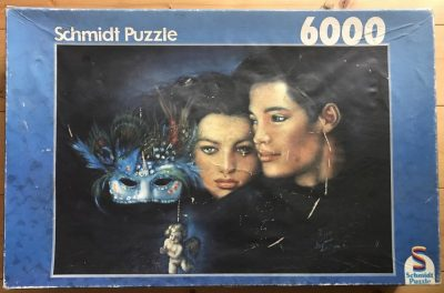 Image of the puzzle 6000, Schmidt, Blue Mask, by Joy Caros, Sealed Bag, Picture of the box