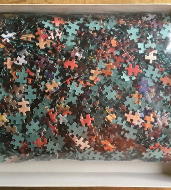 Image of the puzzle 5000, F.X. Schmid, Lucky Marbles, Susan Brabeau, Sealed Bag, Picture of the bag