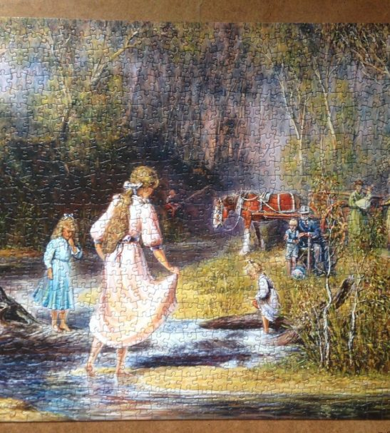 Image of the puzzle 1000, Crown & Andrews, Playing in the Creek, by Almar Zaadstra, Complete, Picture of the puzzle assembled