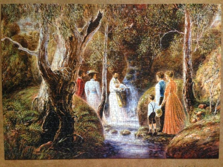 Image of the puzzle 1000, Crown & Andrews, Baptism, by Alma Zaadstra, Complete, Picture of the puzzle assembled