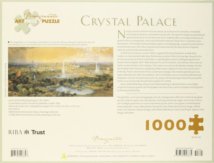 Image of the puzzle 1000, Pomegranate, Crystal Palace, by J. D. Harding, Factory Sealed, Picture of the back