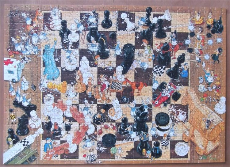 Image of the puzzle 1000, Heye, Black or White, by Marino Degano, Complete, Picture of the puzzle assembled