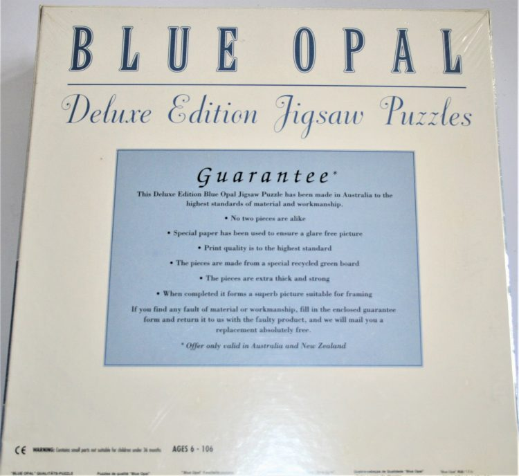Image of the puzzle 1000, Blue Opal, Cradle Mountain, Tasmania, Factory Sealed, Picture of the back
