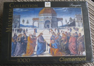 Image of the puzzle 1000, Clementoni, The Delivery of the Keys to Saint Peter, by Pietro Perugino, Factory Sealed, Picture of the box