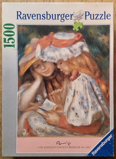 Image of the puzzle 1500, Ravensburger, Two Girls Reading, Renoir, Complete, Picture of the box