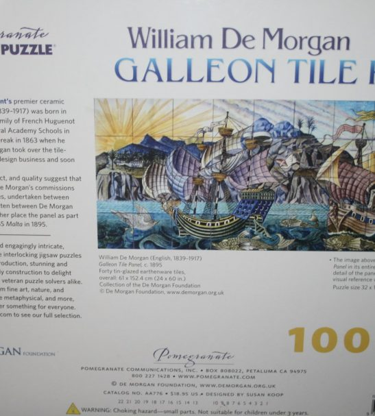 Image of the puzzle 1000, Pomegranate, Galleon Tile Panel, William De Morgan, Factory Sealed, Picture of the back