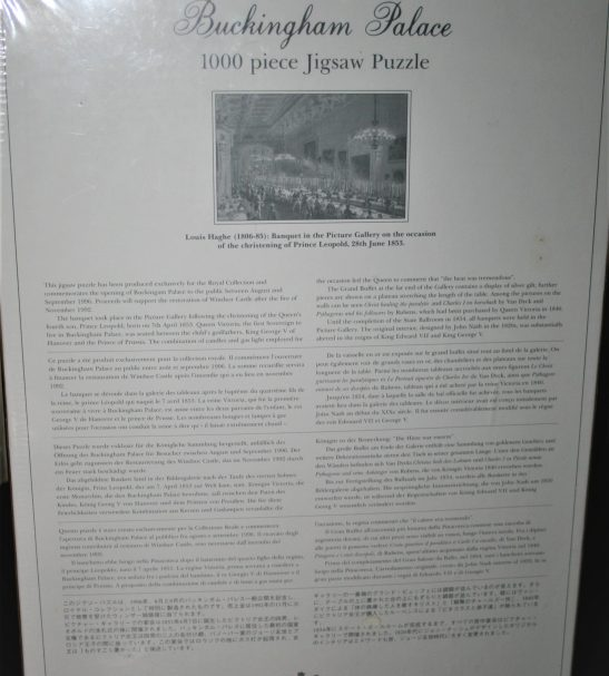 Image of the puzzle 1000, Royal Collection, Banquet in the Picture Gallery, by Louis Haghe, Factory Sealed, Picture of the back