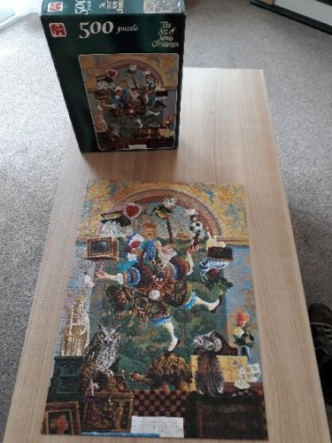 Image of the puzzle 500, Jumbo, Balancing Act, by James Christensen., Listed by Cathy, Picture of the puzzle assembled