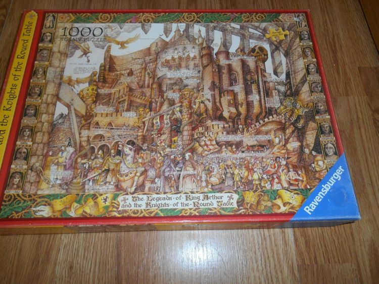 Image of the puzzle 1000, Ravensburger, King Arthur and the Knights of the Round Table, by Albert Lorenz, Complete, Picture of the box