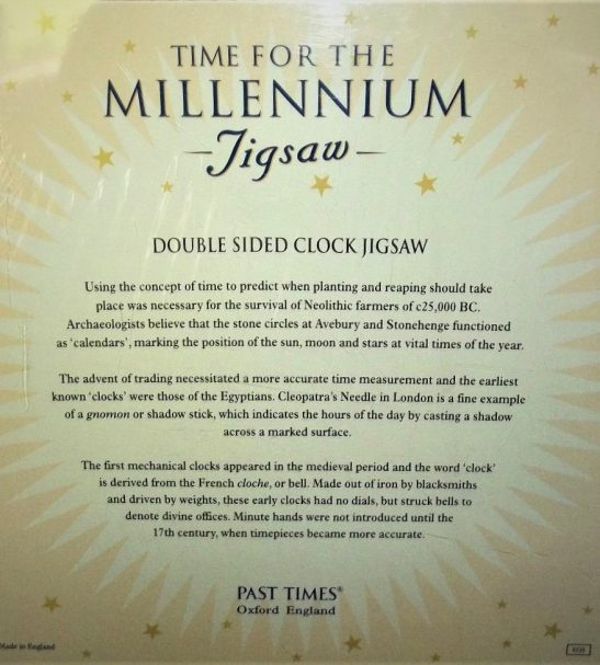 Image of the puzzle 500, Past Times, Time for the Millenium, by Mauro Codussi, Factory Sealed, Picture of the back