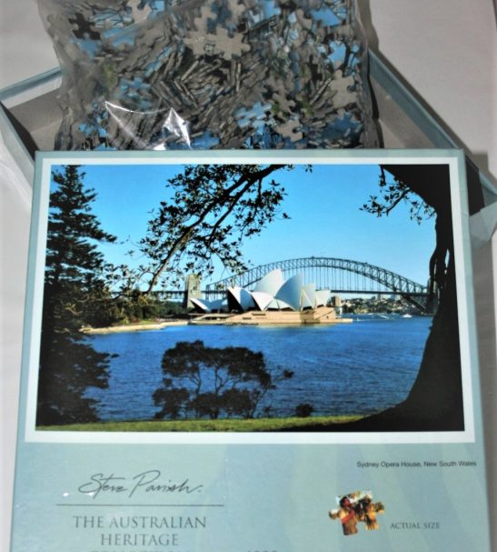 Image of the puzzle 1000, Steve Parish, Sydney Opera House, Sealed Bag, Picture of the box and bag