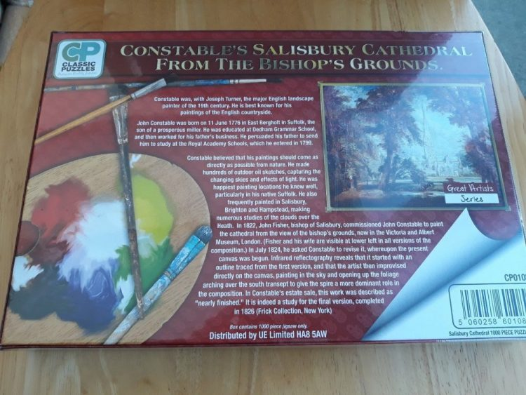 Image of the puzzle 1000, Classic Puzzles, Salisbury Cathedral From the Bishops Ground, by John Constable, Picture of the back