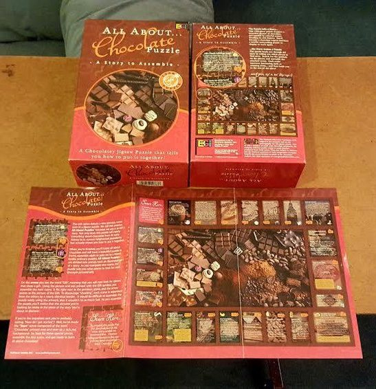 Image of the puzzle 1000, Buffalo, All About Chocolate, Complete, Picture of the box and poster