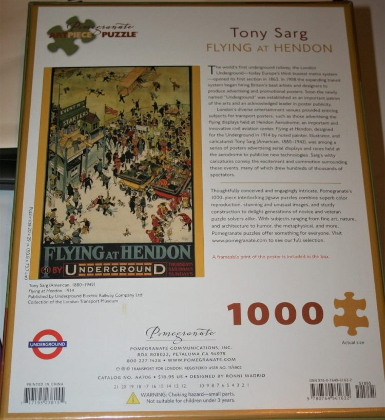 Image of the puzzle 1000, Pomegranate, Flying at Hendon, by Tony Sarg, Factory Sealed, Picture of the back
