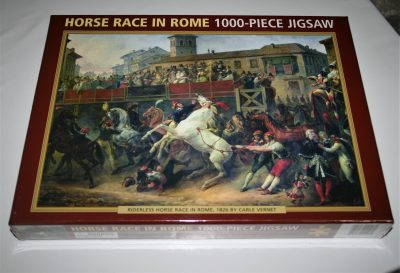 Image of the puzzle 1000, Peony Press, Horse Race in Rome, by Carle Vernet, Factory Sealed