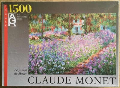 Image of the puzzle 1500, Ricordi, Irises in Monet's Garden, by Claude Monet, Sealed Bag, Picture of the box