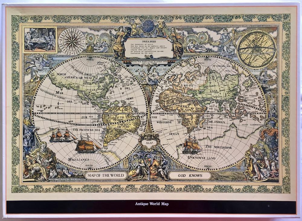 Antique World Map Puzzle.2000 Sunbird Antique World Map Rare Puzzles