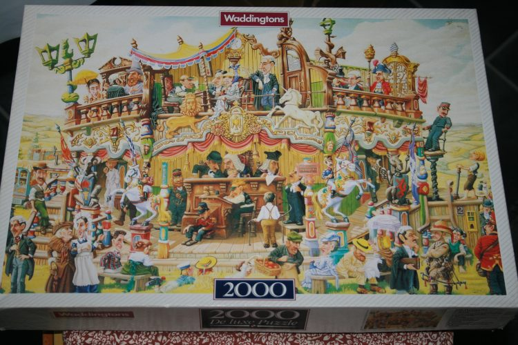 Image of the puzzle 2000, Waddingtons, The Traveling Magistrates, by C. Shields, Sealed Bag, Picture of the box
