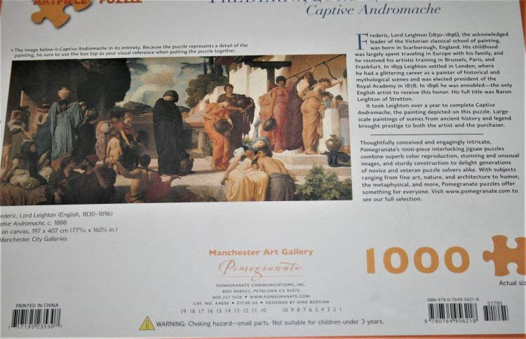 Image of the puzzle 1000, Pomegranate, Captive Andromache, by Frederic Leighton, Factory Sealed, Picture of the back