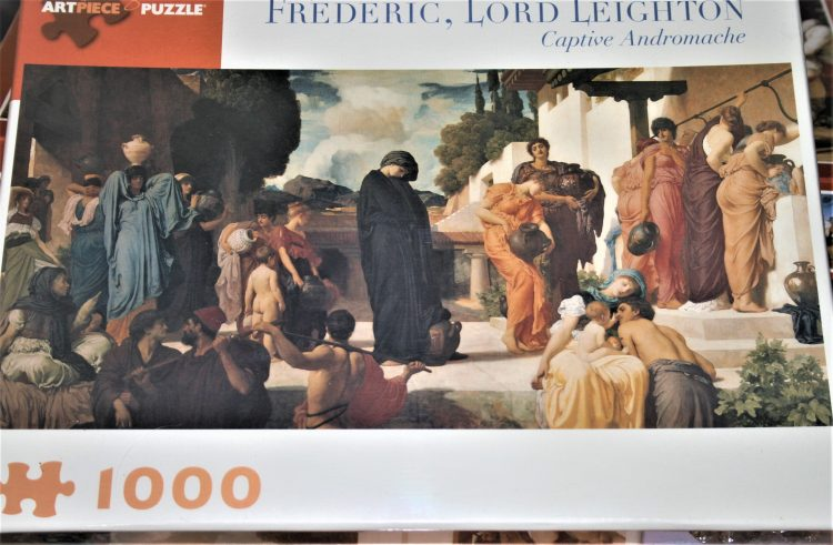 Image of the puzzle 1000, Pomegranate, Captive Andromache, by Frederic Leighton, Factory Sealed, Picture of the box