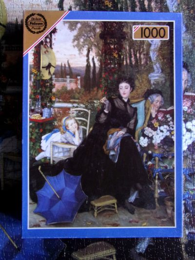 Image of the puzzle 1000, Falcon, Lady in Black, by James Tissot, Complete, Picture of the box