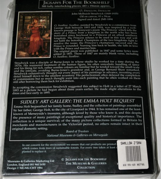 Image of the puzzle 500, Museums & Galleries, Oh, Swallow, Swallow, by John Melhuish Strudwick, Factory Sealed, Picture of the back