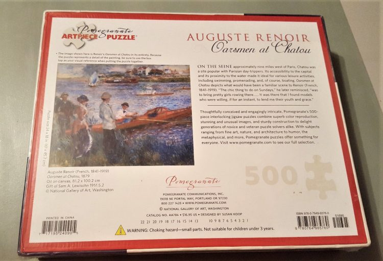 Image of the puzzle 500, Pomegranate, Oarsmen at Chatou, by Renoir, Factory Sealed, Picture of the back
