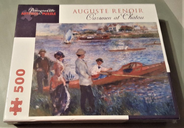 Image of the puzzle 500, Pomegranate, Oarsmen at Chatou, by Renoir, Factory Sealed, Picture of the box