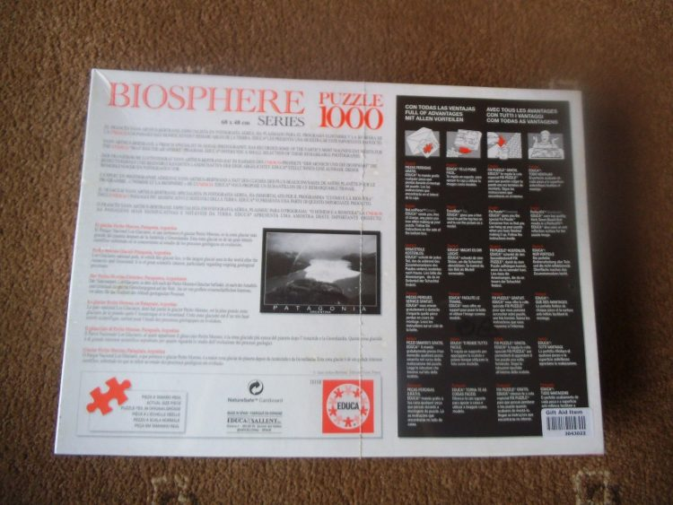 Image of the puzzle 1000, Educa, Patagonia, Argentina, by Yann Arthus-Bertrand, Factory Sealed, Picture of the back