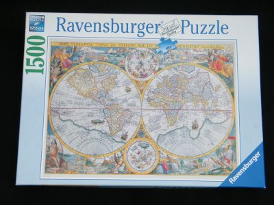 Image of the puzzle 1500, Ravensburger, World Map 1594, by Petrus Plancius, Factory Sealed