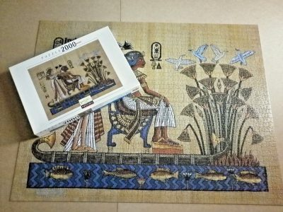 Image of the puzzle 2000, Nathan, The Pharaoh and his Wife, Complete, Picture of the box and the puzzle