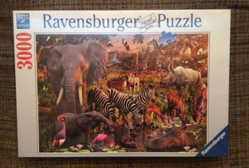 Image of the puzzle 3000 Ravensburger, African Animal World, by David Penfound, Factory Sealed, Listed by Cathy