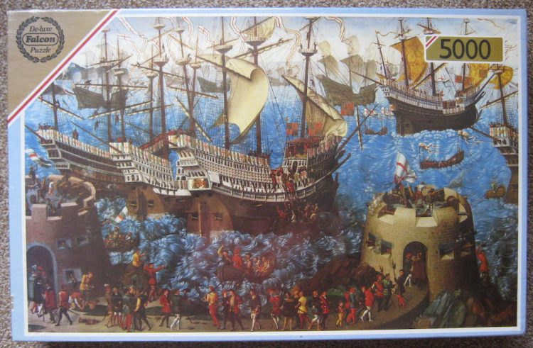 Image of the puzzle 5000, Falcon, The Embarkation of Henry VIII at Dover, by James Basire the Elder, Factory Sealed, Picture of the box