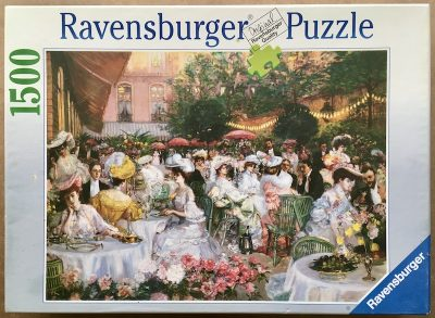 Image of the puzzle 1500, Ravensburger, Ritz Hotel, Paris 1904, by Pierre-Georges Jeanniot, Complete, Picture of the box